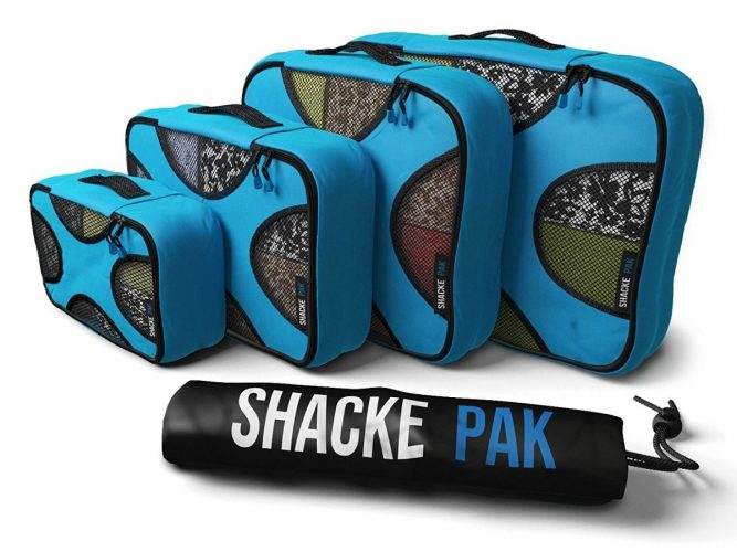 Shacke Pak - 4 Set Packing Cubes - Travel Organizers with Laundry Bag - packing cube