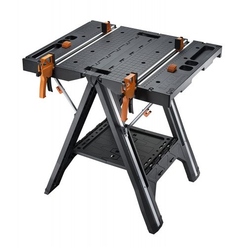 WORX Pegasus Multi-Function Work Table and Sawhorse with Quick Clamps and Holding Pegs – WX051 - Portable Folding Workbenches