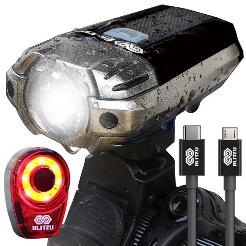 BLITZU Gator 390 USB Rechargeable LED Bike Light Set, Bicycle Headlight Front Light & FREE Rear Back Tail Light. Waterproof, Easy To Install for Kids Men Women Road Cycling Safety Commuter Flashlight - Bicycle Headlights