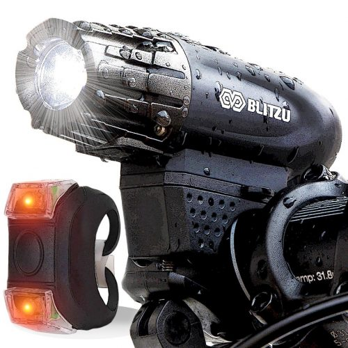 Blitzu Gator 320 USB Rechargeable Bike Light Set POWERFUL Lumens Bicycle Headlight FREE TAIL LIGHT, LED Front and Back Rear Lights Easy To Install for Kids Men Women Road Cycling Safety Flashlight - Bicycle Headlights