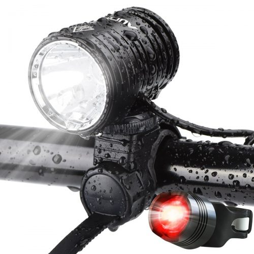 AUOPRO Super Bright Bicycle Light Set - USB Rechargeable Bike Headlight Cree Front Lamp and LED Red Taillight for Cycling Safety - Bicycle Headlights