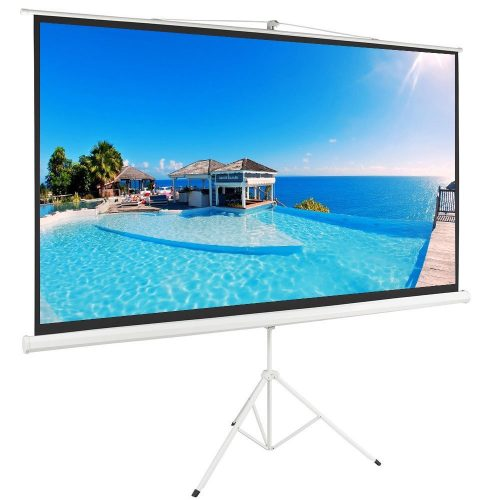 "ShowMaven 100"" 16:9 HD Adjustable Tripod Projector Projection Screen Portable Pull Up Foldable Stand - Projector Screen with Stands"