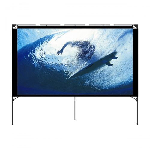 Vamvo Outdoor Projector Screen - Foldable Portable Outdoor Front Movie Screen, Setup Stand, Transportable Full Set Bag for Camping and Recreational Events, 74.4 Inch - Projector Screen with Stands