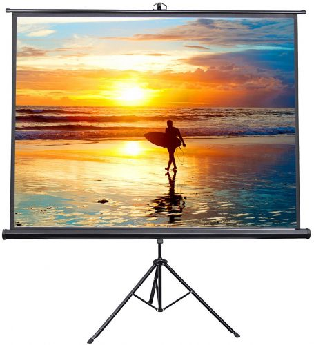 "VIVO 100"" Portable Indoor Outdoor Projector Screen, 100 Inch Diagonal Projection HD 4:3 Projection Pull Up Foldable Stand Tripod (PS-T-100) - Projector Screen with Stands"