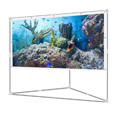 JaeilPLM 100-Inch Wrinkle-Free Portable Outdoor Projection Screen + Setup Stand + Transportable Bag Full Set - Projector Screen with Stands