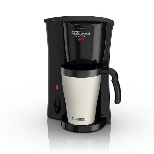 BLACK+DECKER Brew 'n Go Personal Coffeemaker with Travel Mug, Black/White, DCM18 - Hot Chocolate Makers