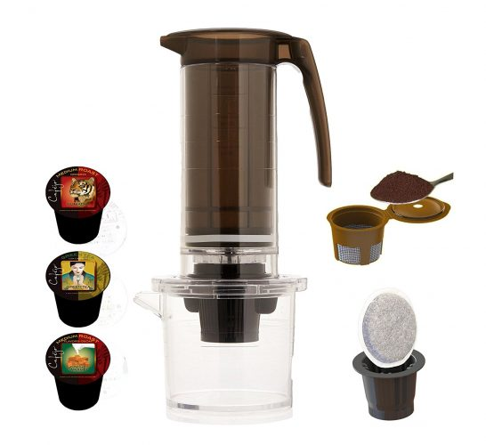 Cafejo My French-Press with K-Cup Pod and Ground Coffee Adaptors Plus, Various Coffee Samples - Hot Chocolate Makers