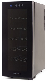 Westinghouse WWT120TB Thermal Electric 12 Bottle Wine Cellar with Touch Panel Adjustable Thermostat and Digital Read Out, Black - Freestanding Wine Cellar