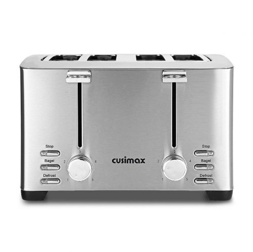 Cusimax 4-Slice Toaster Extra Wide Slot with Stop/Bagel/Defrost Function, 5 Shade Settings and High Lift Lever, 1500W,cmst-T150,Stainless Steel - 4 Slice Toaster