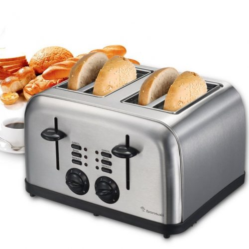 Bonsaii T866 4-Slice Bagel or Bread Toaster, Defrost and Cancel Function, Easy Clean Removable Crumb Tray and Variable Browning Control, Stainless Steel Housing, Perfect for Home Office - 4 Slice Toaster