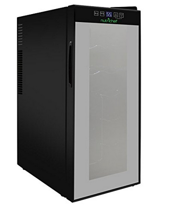 Nutrichef 12 Bottle Thermoelectric Wine Cooler Refrigerator | Red, White, Champagne Chiller | Counter Top Wine Cellar | Quiet Operation Fridge | Touch Temperature Control - Freestanding Wine Cellar