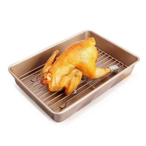 Roasting Pan with Flat Rack Nonstick 13 inch Carbon Steel Baking Set Gold by LUFEIYA. - Roasting Pan
