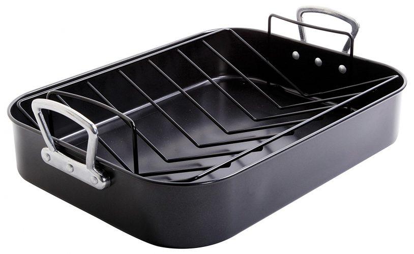Gibson Home 89134.02 Broxton 2 Piece Non-Stick Turkey Roaster, Black. - Roasting Pan