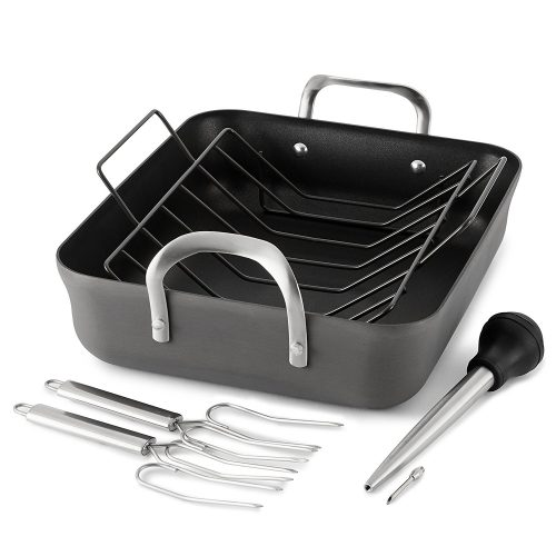 Calphalon Contemporary Hard Anodized Nonstick 16-Inch Roasting Pan with Rack 5 pc. Set.