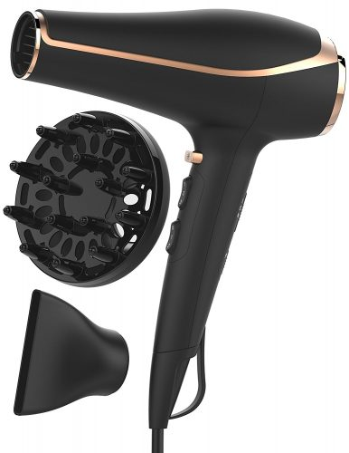 xtava Ionic Blow Dryer Voluminous Toolkit with Hair Diffuser - Professional Quality Ceramic Hair Dryer with Nozzle Diffuser Attachment - Create Salon Volume at Home up to 80% Faster with Less Frizz - Hair Dryer for Curly
