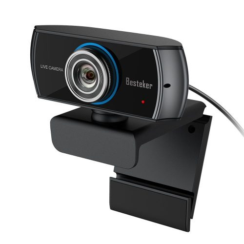 1536P Full HD Webcam, Besteker 1080P Wide Angle Camera with Microphones, Widescreen Video Calling Recording with Facial-enhancement Technology - Wireless Webcam