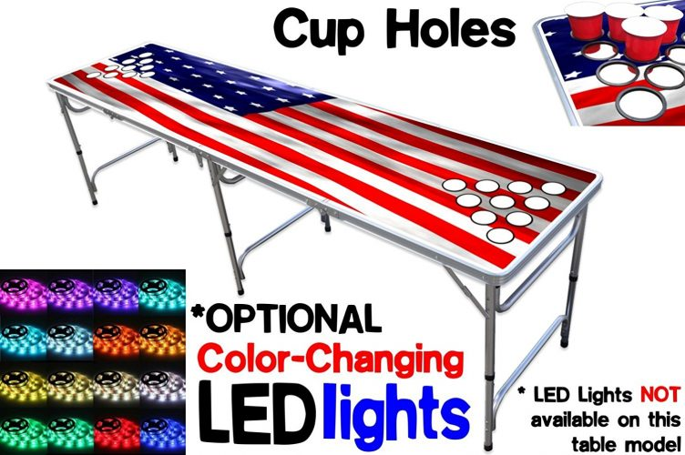 8-Foot Beer Pong Table w/ OPTIONAL Cup Holes & LED Color-Changing Glow Lights - 11 Table Designs - Beer Pong Tables