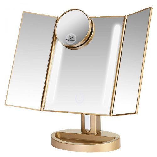 ASSIS Led Lighted Makeup Mirror; Natural LED, Touch Screen and Auto-Off Dual Power Supply (Luxury Gold) - Make Up Mirror