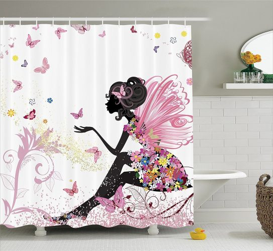 Ambesonne Pink Butterfly Girl with Floral Dress Flower Design Shower Curtain- Shower Curtain
