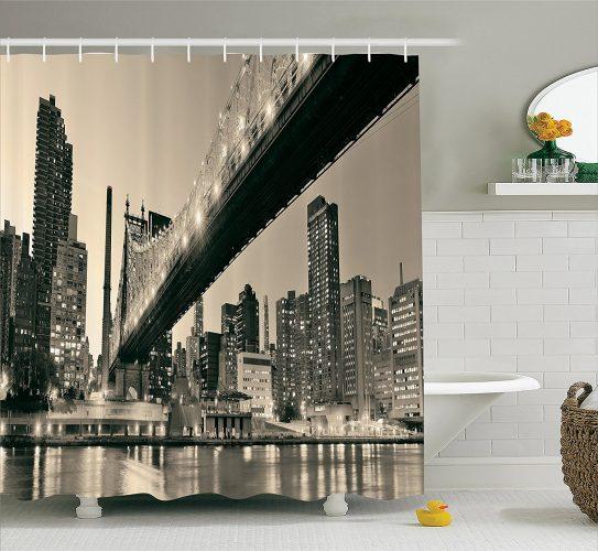 Ambesonne Queensboro Bridge NYC Night Art Prints Fabric Shower Curtain- Shower Curtain