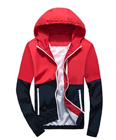 Amcupider Men's Contrast Zip Front-Zip Jacket - Windbreaker jackets