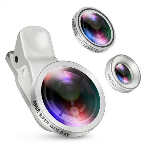 Amir 3 in 1 Clip-on Camera Lens Kit Bundle of Fisheye Lens, Macro Lens, 0.4X Super Wide-Angle Lens for Smartphones, Silver - Smartphones Fisheye Lens