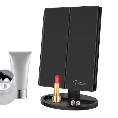 BESTOPE 24 Led Makeup Mirror Larger Vanity Mirror, Trifold Lighted Mirror, Touch Screen - Make Up Mirror