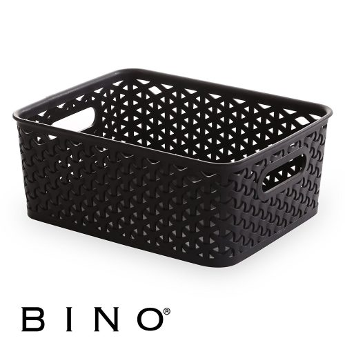 BINO T-Weave Woven Plastic Storage Basket, Large (Grey) - Plastic Laundry Baskets