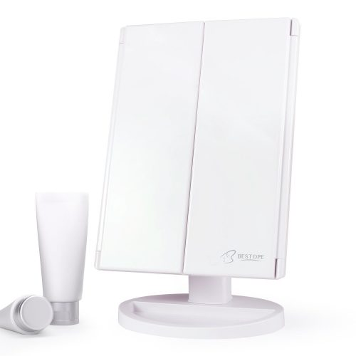 Bestope Makeup Vanity Mirror 3x/2x Magnification, Trifold Mirror with 21 Led Lights, Touch Screen, 180° Adjustable Rotation - Make Up Mirror