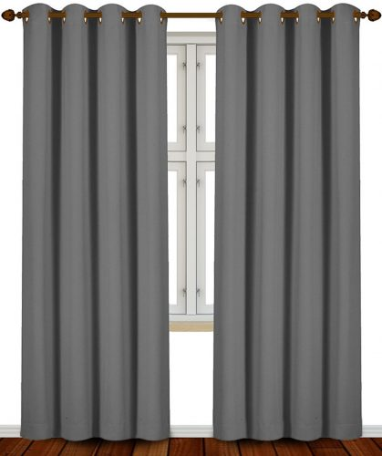 Blackout Room Darkening Curtains Window Panel Drapes (Grey Color) - 2 Panel Set, 52 inch wide by 84 inch long each panel - by Utopia Bedding- darkening curtain