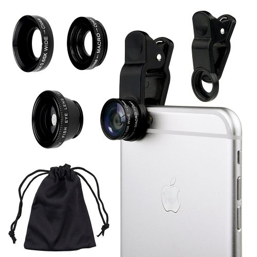 CamKix® Universal 3 in 1 Camera Lens Kit for Smartphones (including iPhone, Samsung Galaxy, HTC, Motorola and More), Tablets, iPad, and Laptops includes One Fish Eye Lens / One 2 in 1 Macro Lens and Wide Angle Lens / One Universal Clip / One Microfiber Carrying Bag / with Camkix® Retail Packaging (Silver) - Smartphones Fisheye Lens