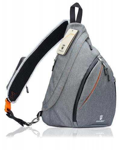 ChampStuff Small Canvas Sling Bag for Men and Women, Waterproof, Comfortable Single Strap, Wear Crossbody - Sling Bag For Women