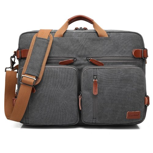 CoolBELL Convertible Backpack Messenger Bag Shoulder bag Laptop Case Handbag Business Briefcase Multi-functional Travel Rucksack Fits 17.3 Inch Laptop For Men / Women (Canvas Dark Grey) - laptop messenger bag