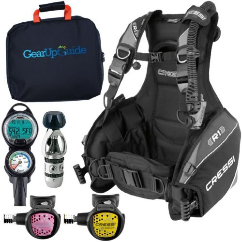Cressi R1 Dive Computer AC2 Compact Regulator Set Gup G Reg Bag Scuba Diving Package - Scuba Gear Packages
