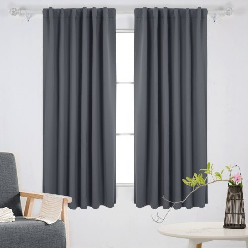 Deconovo Rod Pocket and Back Tab Curtains Room Darkening Curtain Blackout Thermal Insulated Window Curtains for Boys Room 52x63 Inch Dark Grey 2 Panels- darkening curtain