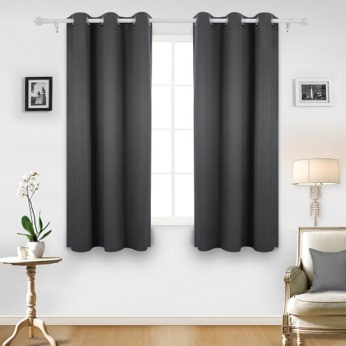 Deconovo Room Darkening Thermal Insulated Grommet Window Curtain For Living Room, Dark Grey- darkening curtain