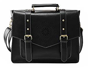 ECOSUSI Women's PU Leather Laptop Bag Tote Messenger Bag - Messenger Bags for Women
