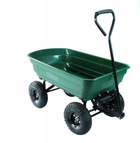 Erie Tools Poly Garden Dump Utility Yard Cart Heavy Duty Steel Frame Yard  Wagon With 550 Lbs Max Hauling Capacity.