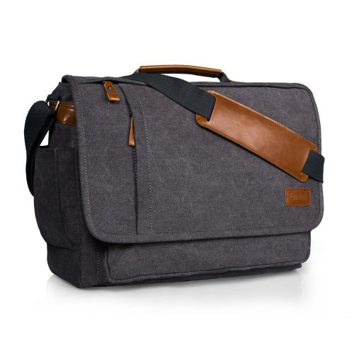 Estarer Laptop Messenger Bag 17 Inch Water-resistance Canvas Shoulder Bag for Work College - laptop messenger bag