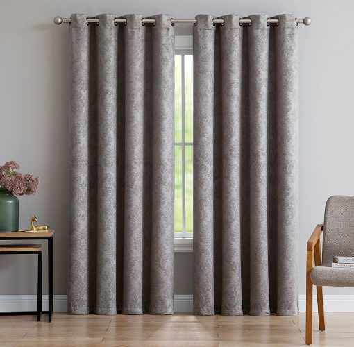 "Evelyn - Embossed Thermal Weaved Blackout Curtain With 8 Grommets - Room Darkening & Noise Reduction Fabric - Blocks up to 97% of Sunlight - Premium Draperies (1 panel 54""W x 63""L, Light Gray)- darkening curtain"