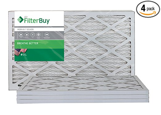 FilterBuy AFB Silver MERV 8 16x20x1 Pleated AC Furnace Air Filter. Pack of 4 Filters. 100% produced in the USA - Furnace Filters