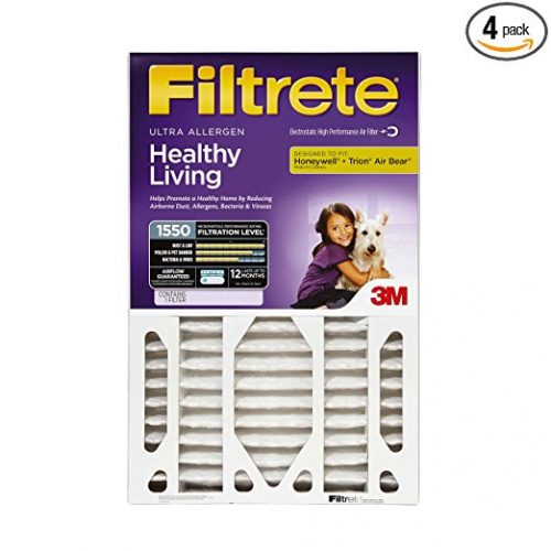 Filtrete MPR 1550 20 x 25 x 4 (3-3/4 Actual Depth) Healthy Living Ultra Allergen Deep Pleated AC Furnace Air Filter, 2-Pack - Furnace Filters