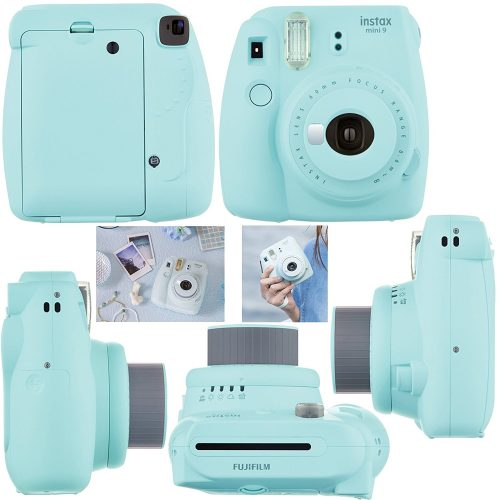Fujifilm Instax Mini 9 Instant Camera ICE BLUE + Fuji INSTAX Film + Accessories Kit Bundle + Custom Case with Strap + Assorted Frames + Photo Album + 60 Colorful Sticker Frames - instant film cameras