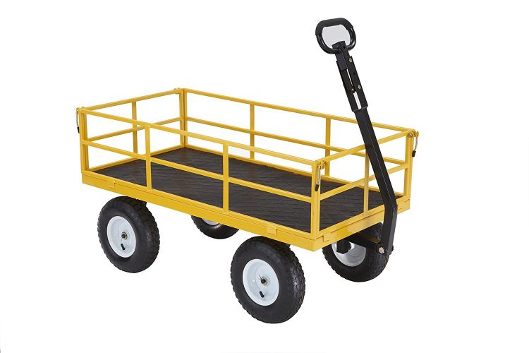 Gorilla Carts Heavy Duty Steel Utility Cart with Removable Sides and 13 Tires with 1200 lb Capacity - heavy duty lawn