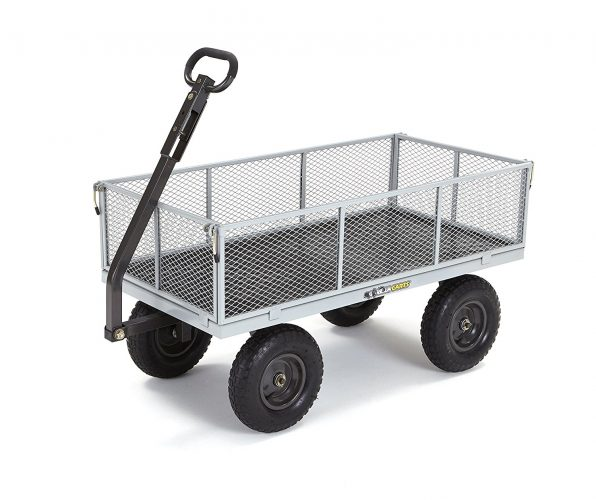 Gorilla Carts Heavy-Duty Steel Utility Cart with Removable Sides with a Capacity of 1000 lb., Gray. - heavy duty lawn