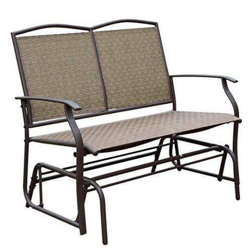 HollyHOME Patio Swing Glider Bench for 2 person, Garden Chair Rocking Loveseat, All Weatherproof, Brown - Patio Gliders