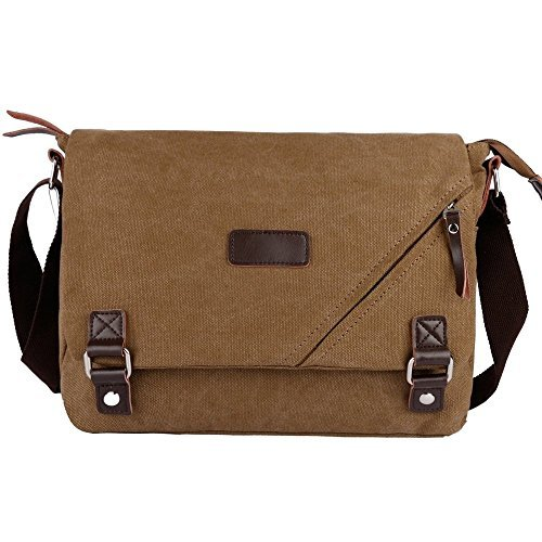 Ibagbar Canvas Messenger Bag Shoulder Bag Laptop Bag Computer Bag Satchel Bag Bookbag School Bag Working Bag for Men and Women - laptop messenger bag