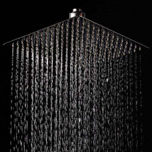 LORDEAR F01082CH Solid Square Ultra Thin 304 Stainless Steel 12 Inch Adjustable Rain Shower Head with Polish Chrome, Waterfall Full Body Coverage with Silicone Nozzle Easy to Clean and Install - Rain Shower Heads