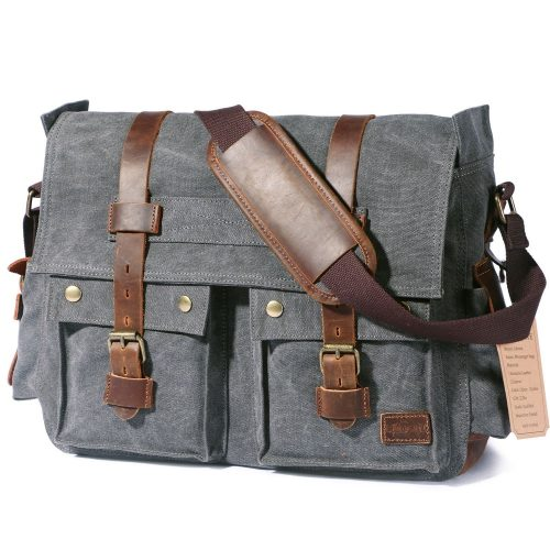 "Lifewit 17.3"" Men's Messenger Bag Vintage Canvas Leather Military Shoulder Laptop Bags - laptop messenger bag"