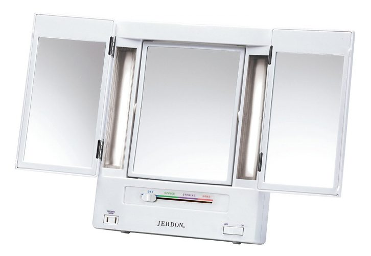 Jerdon Tri-Fold Two-Sided Lighted Makeup Mirror with 5x Magnification, White Finish. - Make Up Mirror